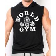 World gym Tri Blend Sleeveless Hoodie Muscle Shirt