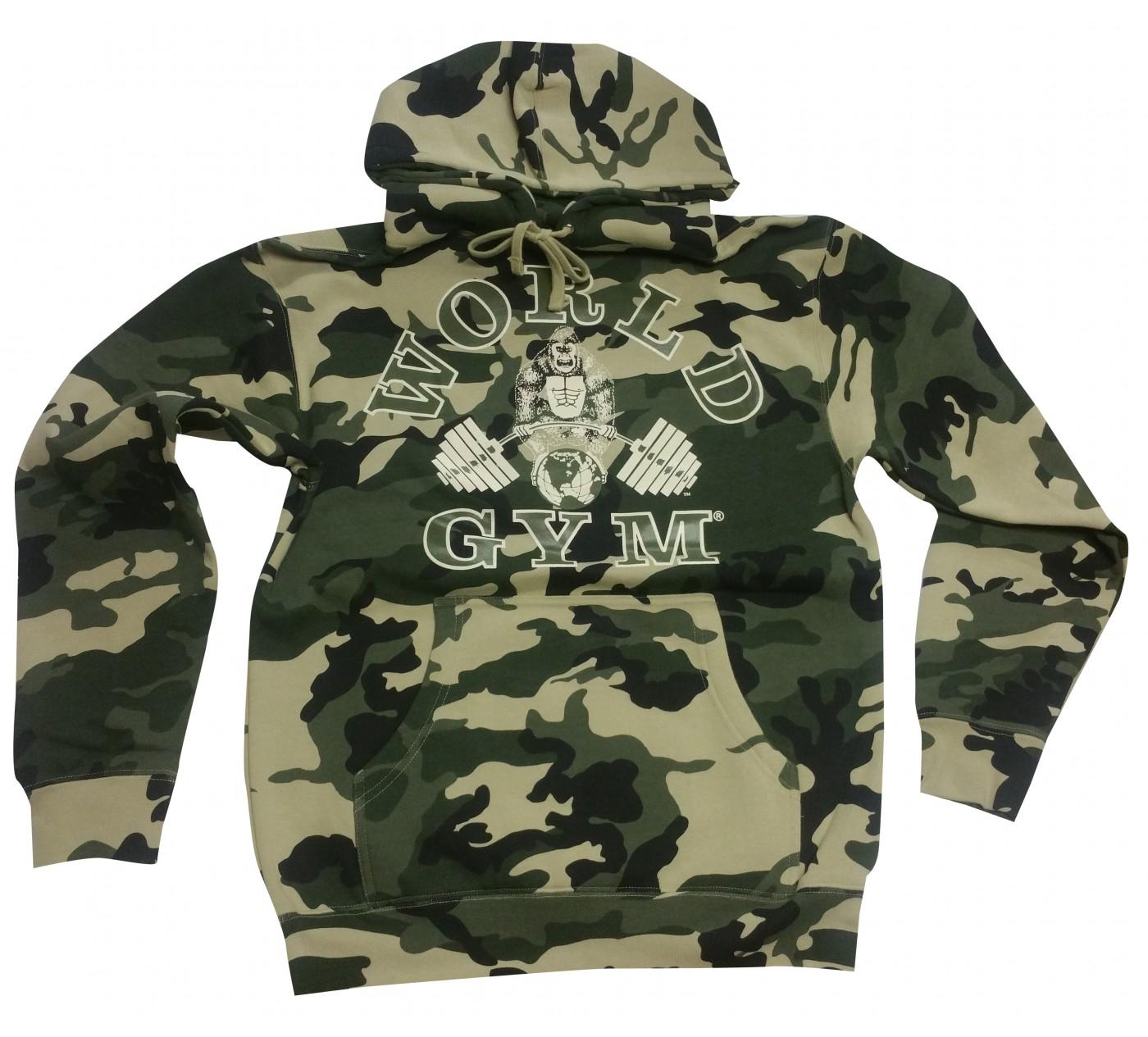 World Gym Camo Hoodie Muscle Gorilla logo camouflage