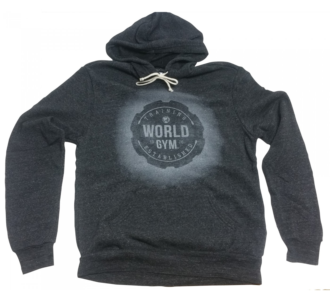 World Gym Hoodie Black Training Logo Muscle faded
