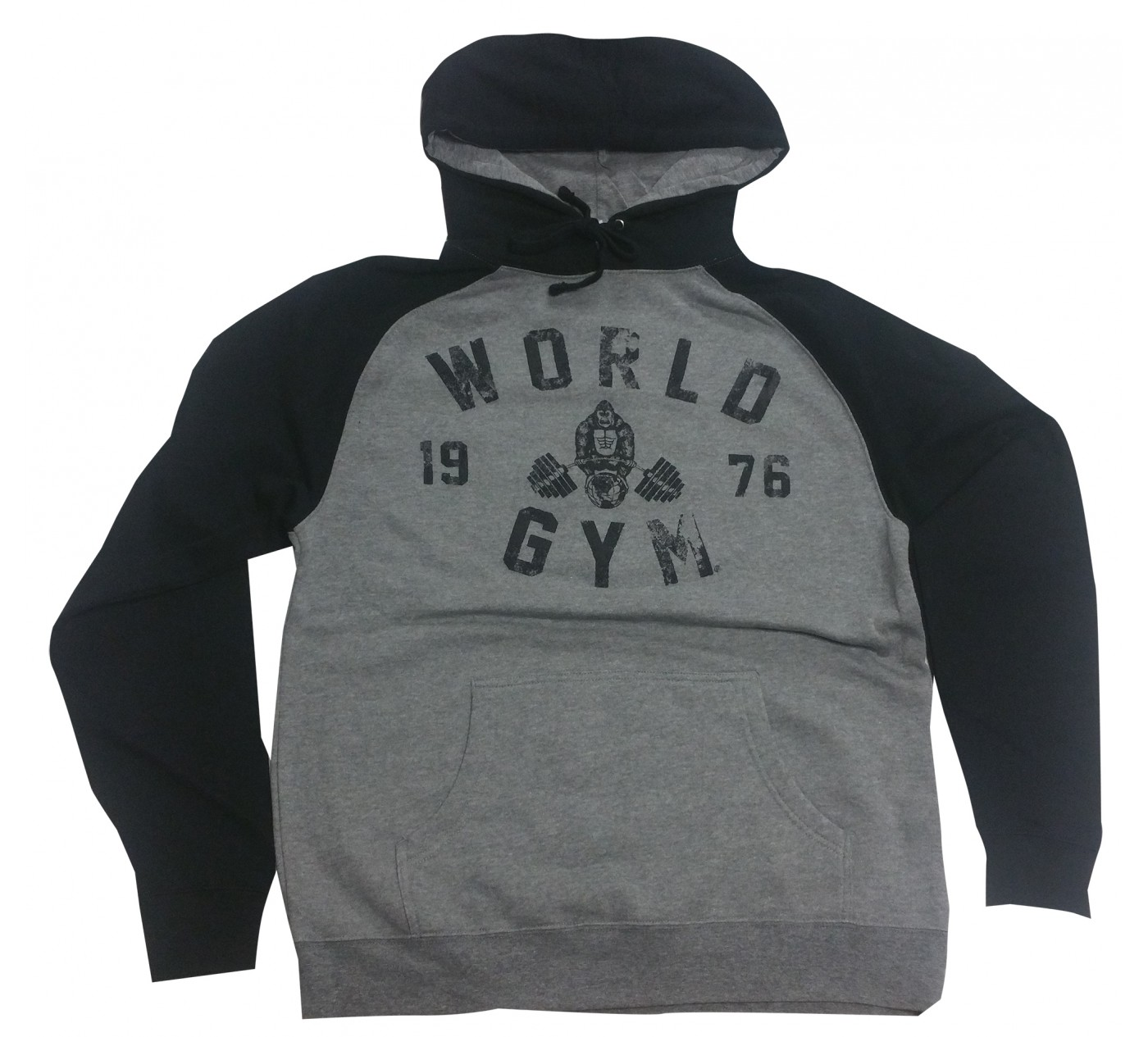 World Gym 76 Logo Workout Hoodie Grey